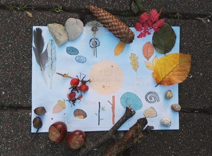Herbst, Kinder, Draußen, Aktivität, Herbstschatzsuche