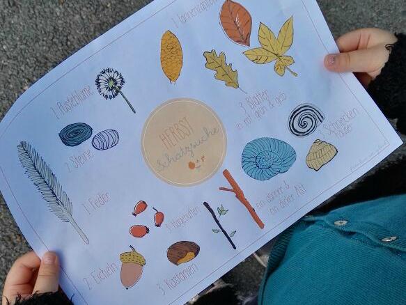 Herbst, Schatzsuche, Kinder, draußen, Vorlage