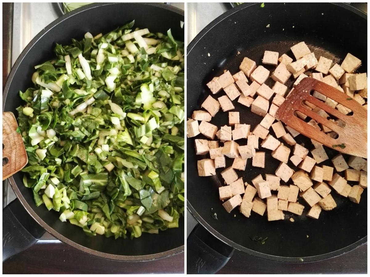 Zubereitung veganes knuspriges Tofu mit Brokkoli