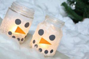 Diy Ideen Schneemann Winter Idee Kerze Licht Weihnachten Kinder