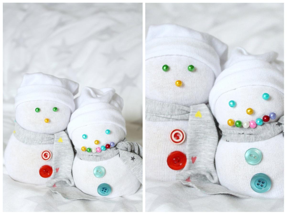 Toller Socken Schneemann Weihnachten DIY Ideen Winter Knöpfe Basteln Kinder